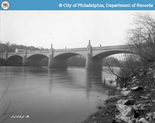 #7 Green Lane Over Schuylkill River - Schuylkill Navigation Canal and Reading Railroad - Looking Northwest From Canal Bank.