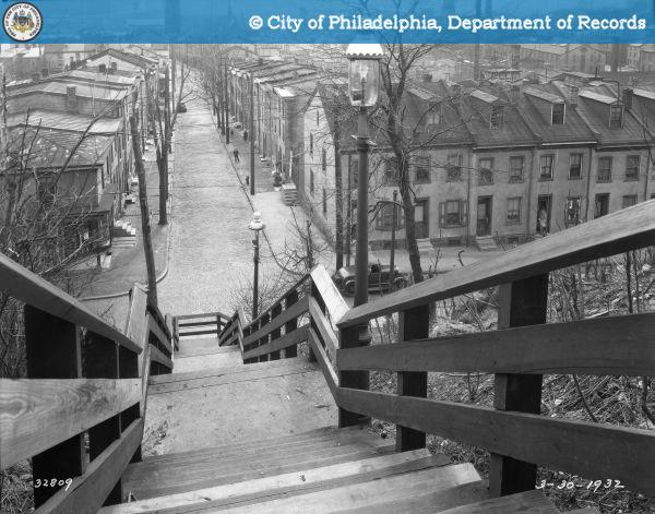 Stairway Connecting Upper and Lower Levels of Dupont Street at Silverwood Street. 1932.