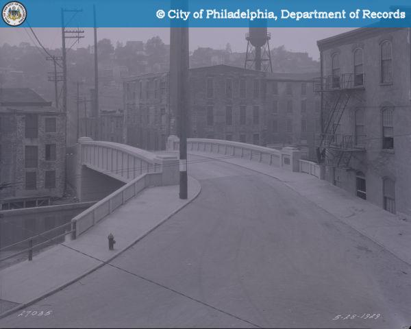 Leverington Avenue Bridge-Looking Southwest from Philadelphia and Reading Railroad Bridge. Simister Mills Company
