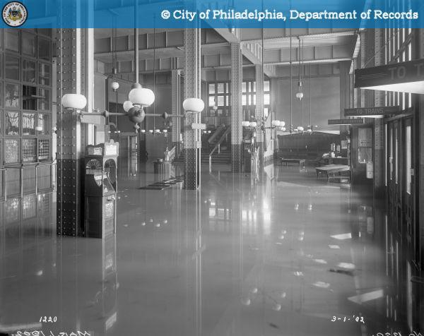 inside the flooded B&O train station