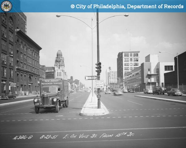 Vine Street, looking east from 15th Street, 1951